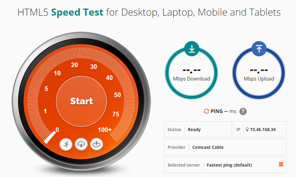 HTML5 Speed and Ping Test
