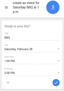 Google Now - View of Auto Populated Event Creation Form