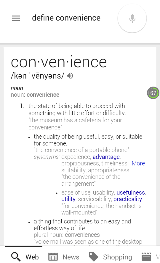 Screen Shot of Google Knowledge Graph Result for Define Convenience