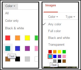 Google Image Color Menu vs Bing