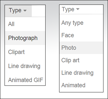Google and Bing Image Type Menu