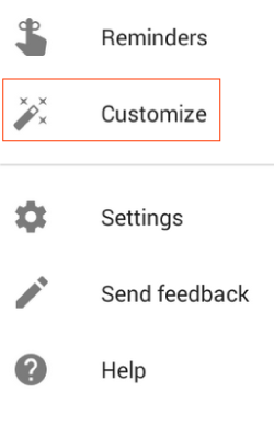 Customize Menu Item in Google Now