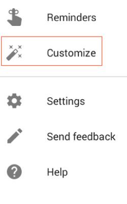 Customize Menu Item in Google Now