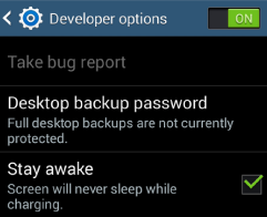 Samsung Dev Options Menu