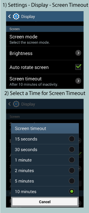 Samsung Screen Timeout Setting Image