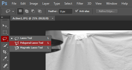 Polygonal Lasso Tool is selected by clicking and holding the Lasso Tool to bring up its alternatives.