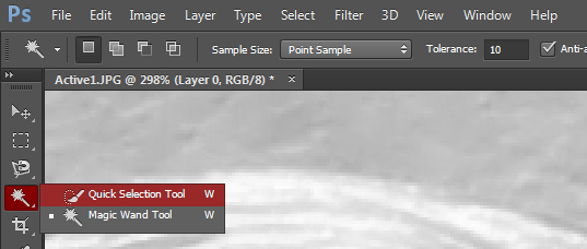 The Quick Selection tool can be selected by clicking and holding the Magic Wand tool.