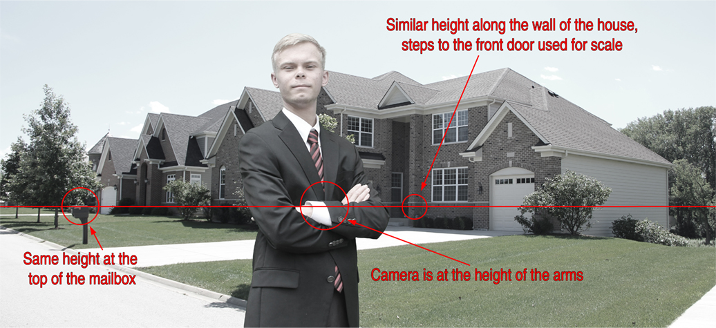 Line up the height of the camera in the foreground with a similar height in the background image.