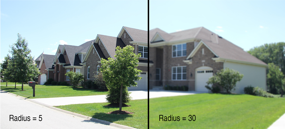 "Increasing the ""Radius"" of the Lens Blur will make the image blurrier."