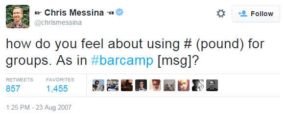 Chris Messina Tweet About Using # in Twitter