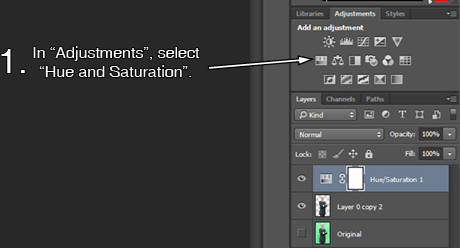 Hue and Saturation Icon in Photoshop CC