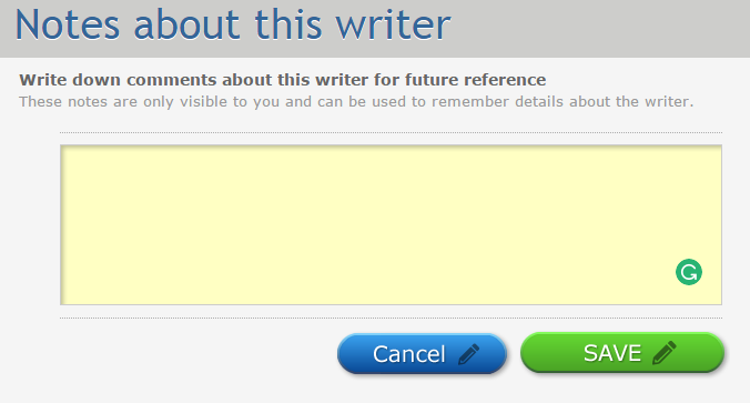 Image of Note Text Field in HireWriters