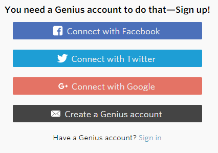 Create a Genius Account Menu