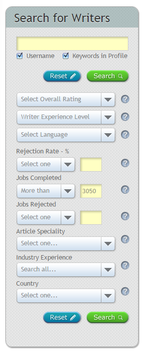 Hire Writers Search Parameters on Site