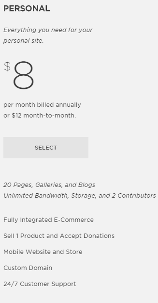 image of squarespace pricing