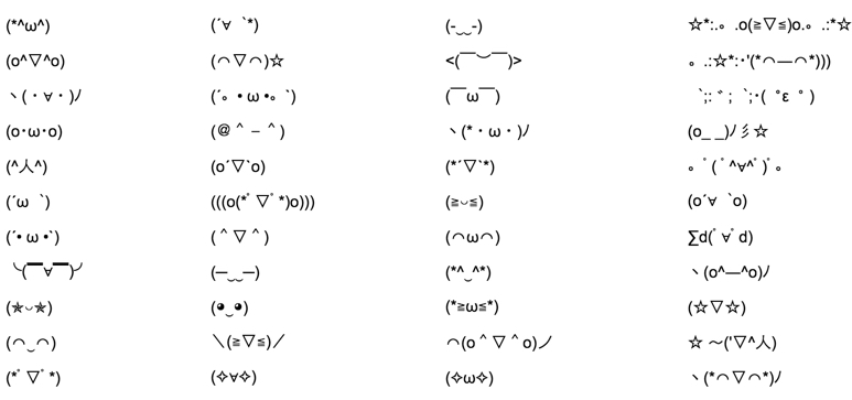 A various assortment of emoticons created using a Japanese keyboard.